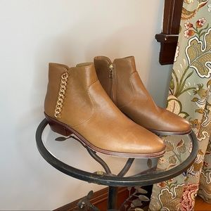 Coach brown leather booties with gold chain